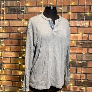 Izod Luxury Sport Vintage Gray V Neck Long Sleeve